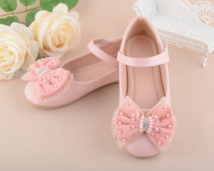 Pantofiori roz cu fundita aplicata