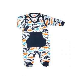 Salopeta bebe cu bluzita - Colectia Shark - Haine Bebelusi