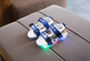 Sandale albe cu albastru cu stea si cu luminite