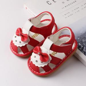 Sandalute rosii cu alb si cu fundita
