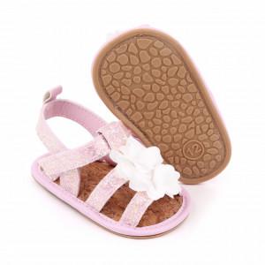 Sandalute roz sidefat cu floricele albe