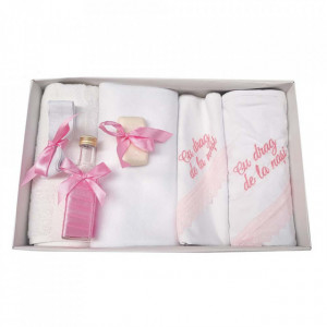 Trusou botez cu mesaj si lumanare glob cu Ingeras, decor roz, Denikos® 547