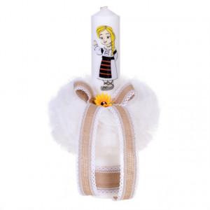 Trusou botez fetita brodat si lumanare, decor rustic, Denikos® 124