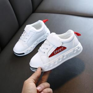 Adidasi albi cu rosu pentru copii - Sport