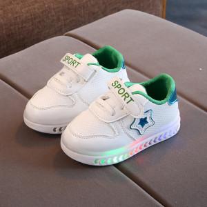 Adidasi albi cu verde sidefat cu luminite in talpa