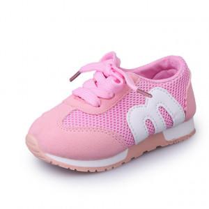 Adidasi roz cu insertie alba pentru fetite