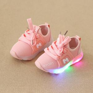 Adidasi roz somon cu luminite - Fashion