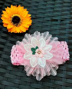 Bentita pentru fetite - Floare din tulle cu danteluta
