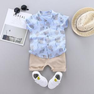Costum bebelusi cu pantalonasi si camasuta bleu - Frunzulite