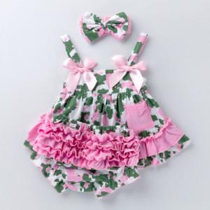 Costumas pentru fetite roz cu verde