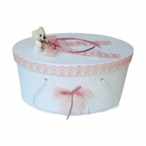 Cutie trusou botez dantela dusty rose si ursulet, Denikos® 400