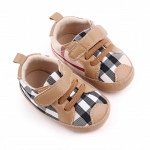 Pantofiori crem in carouri pentru baietei