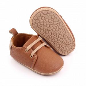 Pantofiori eleganti maro cu sireturi