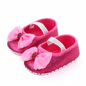 Pantofiori roz ciclamen cu sclipici si fundita
