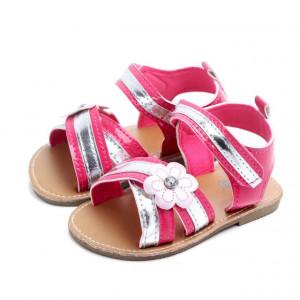 Sandale fetite roz ciclame cu argintiu