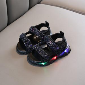 Sandale negre cu sclipici si luminite
