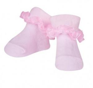 Sosetele fetite roz deschis cu danteluta din tulle