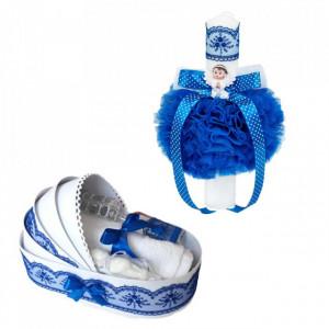 Trusou botez in landou si lumanare glob cu ingeras, decor albastru, Denikos® 585