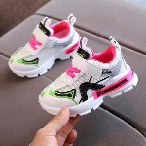 Adidasi albi cu insertii in nuante neon