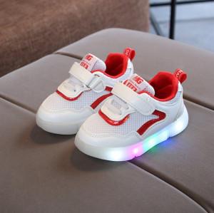 Adidasi albi cu rosu cu luminite