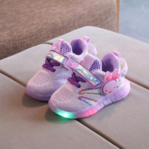 Adidasi mov cu luminite pentru copii - Kitty