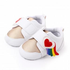 Adidasi pentru fetite alb cu auriu - Inimioara curcubeu