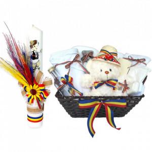 Cos cadou botez trusou si lumanare, decor rustic, fundite tricolor, Denikos® 669