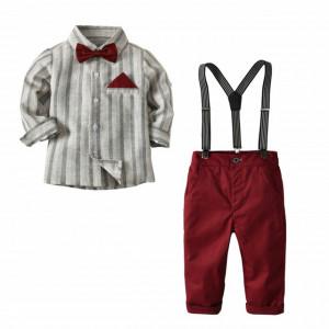 Costum elegant pentru baietei cu papion si bretele