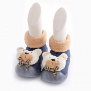 Mocasini cu talpa antiderapanta - White teddy