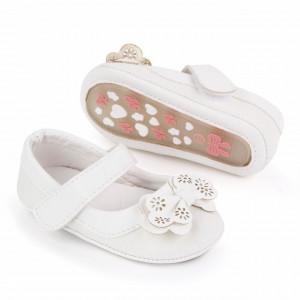 Pantofiori albi cu sclipici si fundita