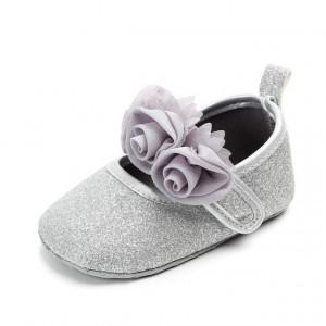 Pantofiori fetite cu sclipici argintiu - Trandafirasi