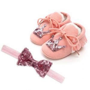 Pantofiori imblaniti roz cu bentita asortata