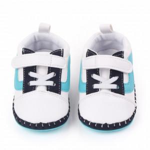Pantofiori pentru baietei alb cu bleu