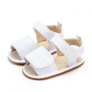Sandale fetite albe cu bareta cu arici