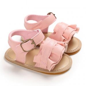 Sandale roz cu volanas pentru fetite