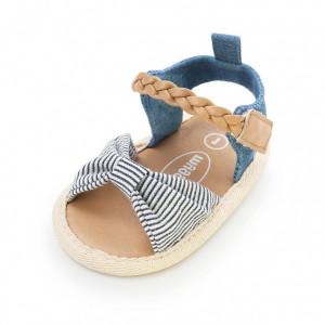 Sandalute din blugi cu fundita cu dungulite