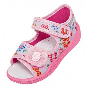 Sandalute gri cu floricele colorate