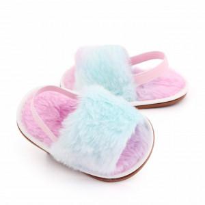 Sandalute pufoase pentru fetite - Curcubeu