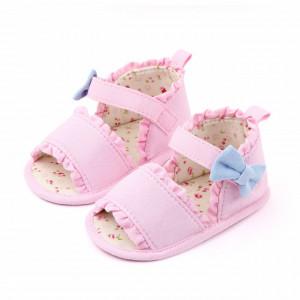 Sandalute roz cu fundita bleu pentru fetite