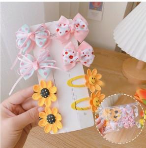 Set de 8 accesorii pentru par - Fundite si flori