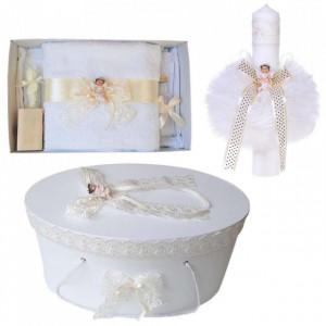 Set trusou botez, cutie trusou si lumanare, Ingeras, dantela ivoire, Denikos® 471