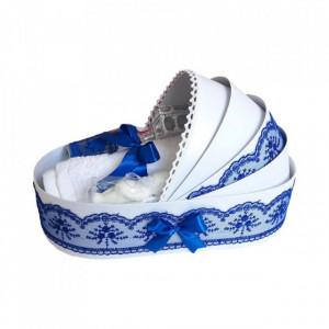 Trusou botez complet, in landou, decor elegant cu dantela albastra Denikos® 149