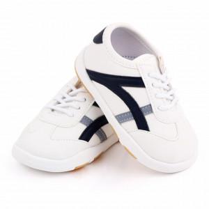 Adidasi albi cu dungi bleumarine