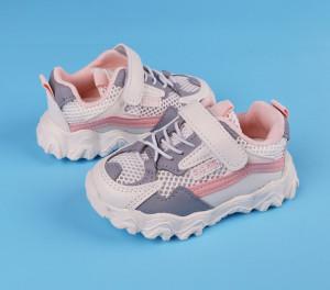 Adidasi albi cu roz si gri din material tip plasa