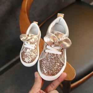Adidasi aurii cu sclipici pentru fetite