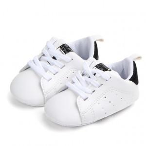 Adidasi bebelusi albi cu negru - Sport fashion