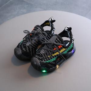Adidasi decupati negri cu insertii colorate