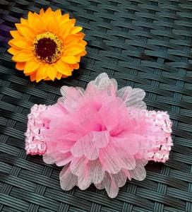 Bentita pentru fetite - Floare roz din tulle