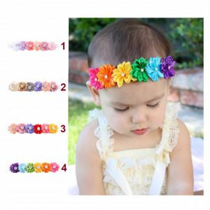 Bentita pentru fetite - Floricele colorate cu strasuri