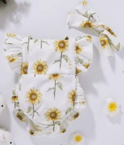 Body alb cu bentita asortata - Floarea soarelui
